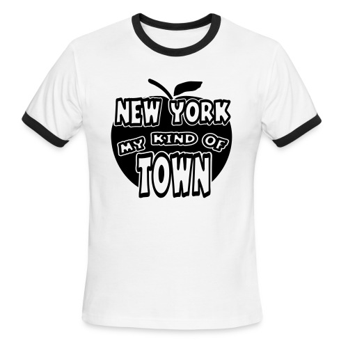 WUBT 'New York My Kind Of Town, Big Apple Cut Outs' Men's Ringer Tee, White, Black - Men's Ringer T-Shirt