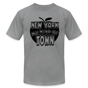 WUBT 'New York My Kind Of Town, Big Apple Cut Outs' Men's AA Tee, Slate  - Men's T-Shirt by American Apparel