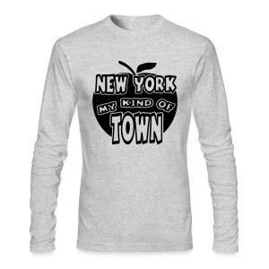 WUBT 'New York My Kind Of Town, Big Apple Cut Outs' Men's AA LS Tee, Green  - Men's Long Sleeve T-Shirt by Next Level