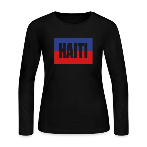 WUBT 'Haiti Colors, Cut Out' Women's LS Jersey Tee, Black - Women's Long Sleeve Jersey T-Shirt
