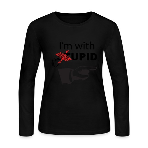 I'm with cupid Girls blk text LS-Tee - Women's Long Sleeve Jersey T-Shirt