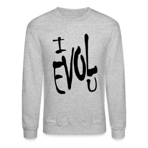 WUBT 'I Evol U' Men's Sweatshirt, Heather Gray - Crewneck Sweatshirt