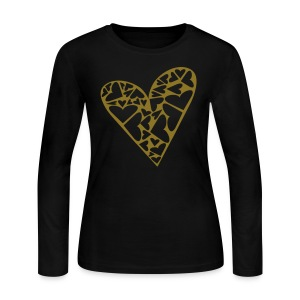 WUBT 'Big Heart Puzzle Pieces Cutout' Women's LS Jersey Tee, Black - Women's Long Sleeve Jersey T-Shirt