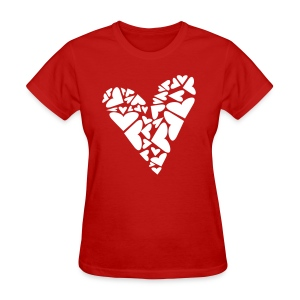 WUBT 'Big Heart Puzzle Pieces' Women's Standard Tee, Red - Women's T-Shirt