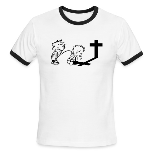 Calvin Peeing On Calvin Praying - Men's Ringer T-Shirt