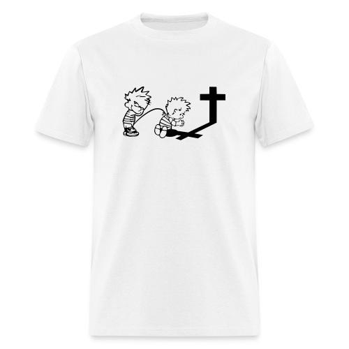 Calvin Peeing On Calvin Praying - Men's T-Shirt