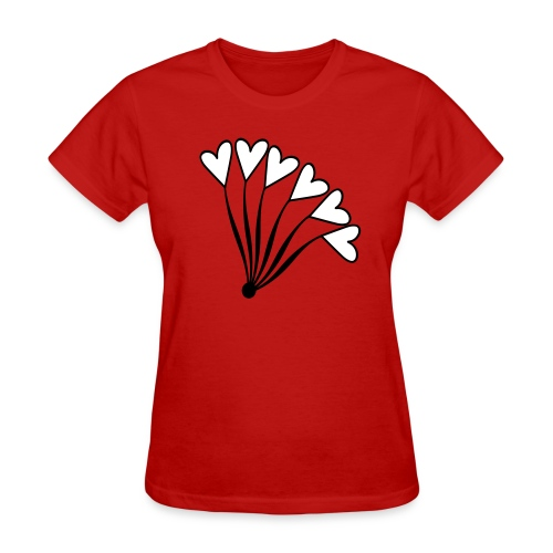 WUBT 'Heart Balloon Bouquet' Women's Standard Tee, Red - Women's T-Shirt