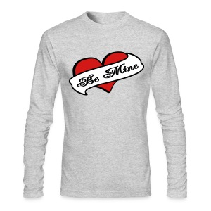 WUBT 'Be Mine Tattoo Heart' Men's AA LS Tee, Gray - Men's Long Sleeve T-Shirt by Next Level