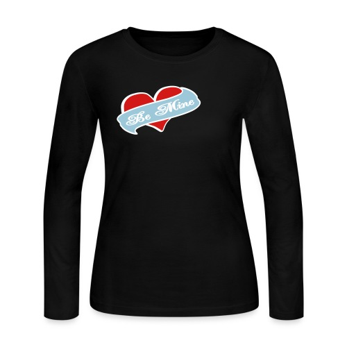 WUBT 'Be Mine Tattoo Heart' Women's LS Jersey Tee, Black - Women's Long Sleeve Jersey T-Shirt