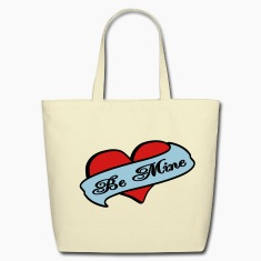 Creme Be Mine Heart Banner Tattoo Bags