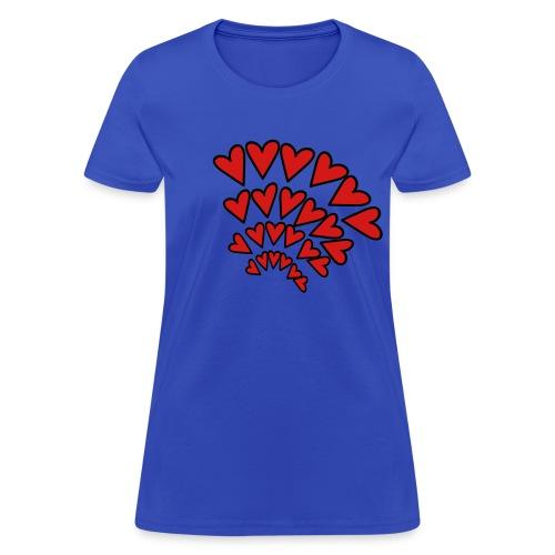 WUBT 'Hearts Random 4 Rows Arcs' Women's Standard Tee, Light Blue - Women's T-Shirt
