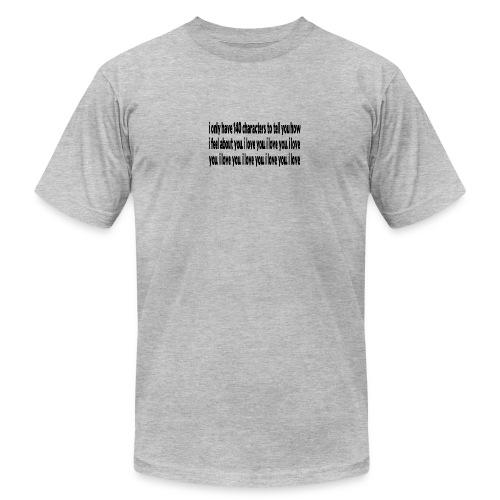 WUBT '140 Characters, How I Feel--DIGITAL DIRECT' Men's AA Tee, Heather Gray - Men's  Jersey T-Shirt