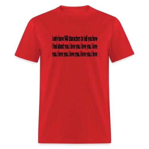 WUBT '140 Characters, How I Feel--DIGITAL DIRECT' Men's Standard Tee, Red - Men's T-Shirt