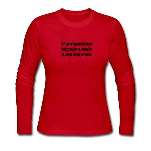WUBT '140 Characters, How I Feel--DIGITAL DIRECT' Women's LS Jersey Tee, Red - Women's Long Sleeve Jersey T-Shirt