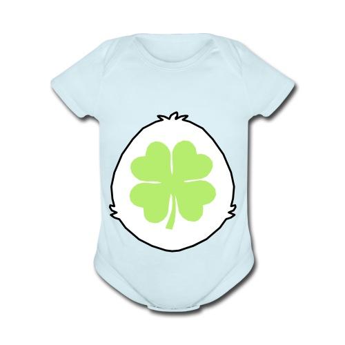 Lucky Bear Tummy - Organic Short Sleeve Baby Bodysuit