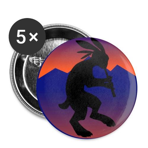 Large Buttons - Kokopelli (Native American flautist) jack-rabbit