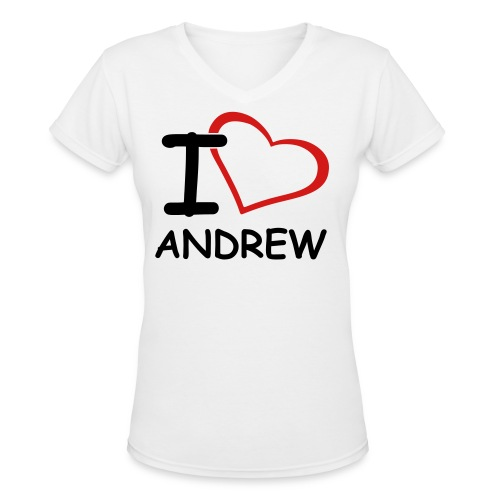 I Heart Andrew T-Shirt - Women's V-Neck T-Shirt