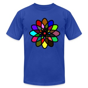 WUBT 'Kaleiscope Starburst, Multi-Color, Men's AA Tee, Royal Blue - Men's Fine Jersey T-Shirt