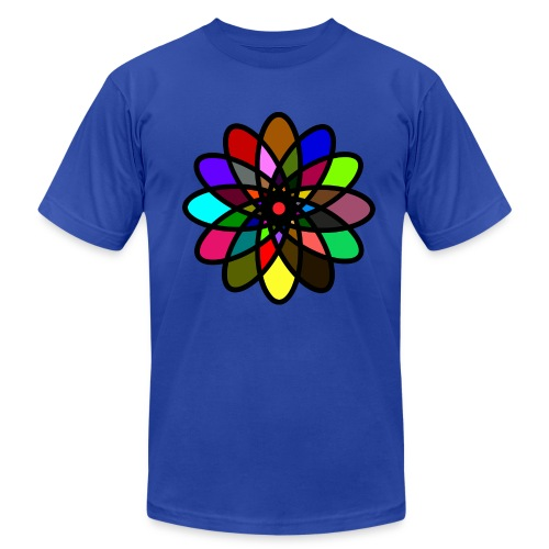 WUBT 'Kaleiscope Starburst, Multi-Color, Men's AA Tee, Royal Blue - Men's Fine Jersey T-Shirt