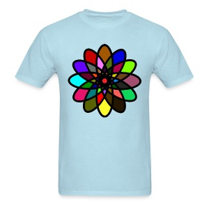 WUBT 'Kaleiscope Starburst, Multi-Color, Men's Standard Tee, Lt Blue - Men's T-Shirt