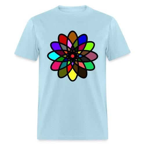 WUBT 'Kaleiscope Starburst, Multi-Color, Men's Standard Tee, Lt Blue - Men's T-Shirt