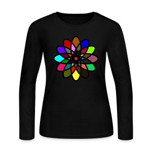 WUBT 'Kaleiscope Starburst, Multi-Color, Women's LS Jersey Tee, Sky - Women's Long Sleeve Jersey T-Shirt