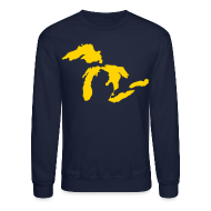Long Sleeve Shirts ~ Crewneck Sweatshirt ~ Just Michigan Men's Crewneck Sweatshirt (not glow in dark)