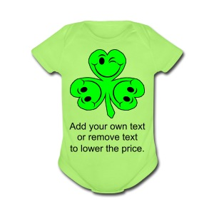 Smiling Clover Leaves - Short Sleeve Baby Bodysuit