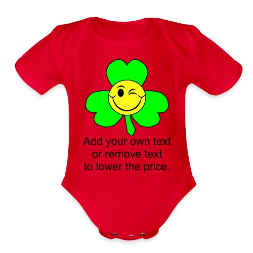 Smiley Shamrock - Organic Short Sleeve Baby Bodysuit