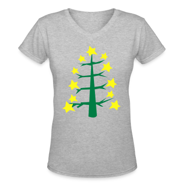 Gray COOL trendy skinny Christmas tree with star baubles Women's T-Shirts