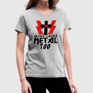 Gray JESUS LOVES METAL  TOO Women's T-Shirts - Women's V-Neck T-Shirt