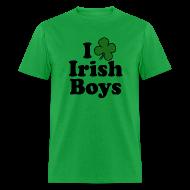T-Shirts ~ Men's T-Shirt ~ Funny St Patricks Day T-Shirt, I Love Irish Boys Shamrock