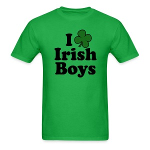 Funny St Patricks Day T-Shirt, I Love Irish Boys Shamrock - Men's T-Shirt