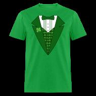 T-Shirts ~ Men's T-Shirt ~ Leprechaun Tuxedo T-Shirt, Green Tuxedo Shirt