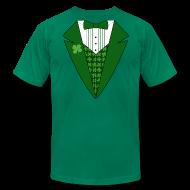 T-Shirts ~ Men's T-Shirt by American Apparel ~ Leprechaun Tuxedo T-Shirt, Green Tuxedo Shirt
