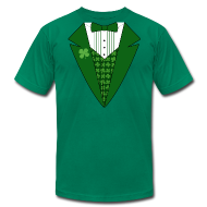 T-Shirts ~ Men's T-Shirt by American Apparel ~ Leprechaun Tuxedo T-Shirt, Green Tuxedo Shirt