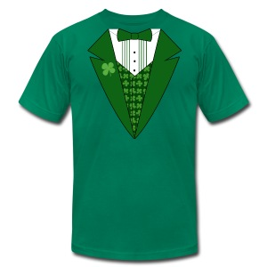 Leprechaun Tuxedo T-Shirt, Green Tuxedo Shirt - Men's T-Shirt by American Apparel