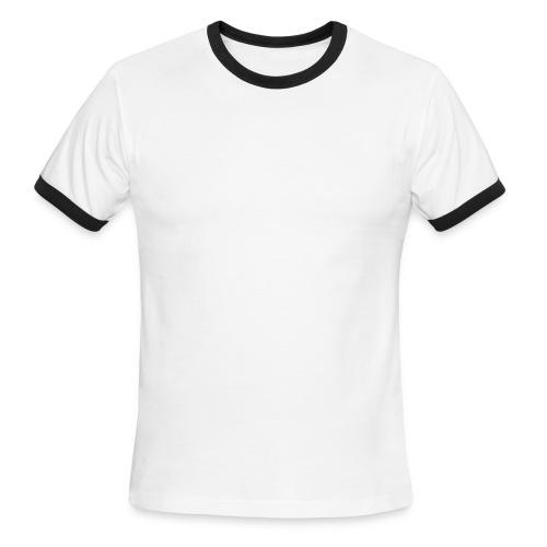 WUBT 'Leaves On Long Stem With Falling Leaf' Men's Ringer Tee, Green, White - Men's Ringer T-Shirt