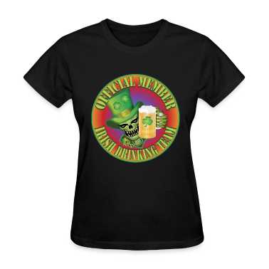 Black Irish Drinking Skull Women's T-Shirts