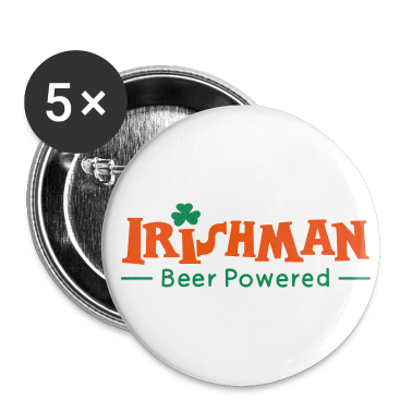 White Beer Powered Irish Man Buttons
