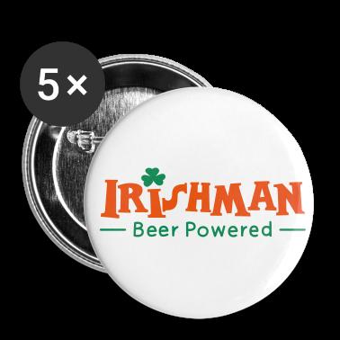 White Beer Powered Irish Man Buttons