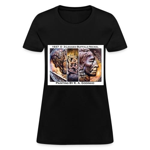 1937 D 3-Leg Buffalo Nickel Black Women's T-shirt - Women's T-Shirt