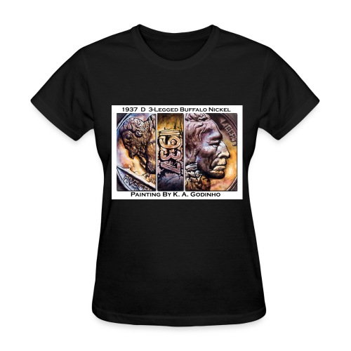 1937 D 3-Leg Buffalo Nickel Black Women's T-shirt - Women's T-Shirt