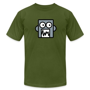 Silver robot on Olive - Men's T-Shirt by American Apparel