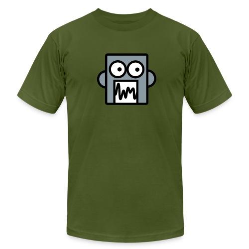 Silver robot on Olive - Men's Fine Jersey T-Shirt