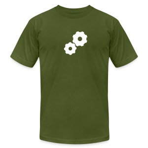 Small Gears on Olive - Men's Fine Jersey T-Shirt