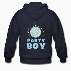 Navy PARTY BOY with funky glitter ball and stars Zip Hoodies/Jackets