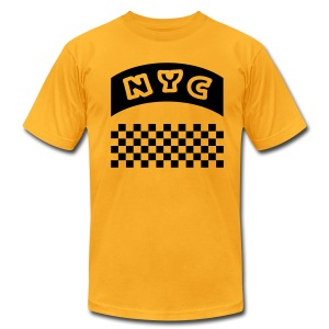 WUBT 'NYC Banner With Taxi Squares' Men's AA Tee, Gold - Men's T-Shirt by American Apparel