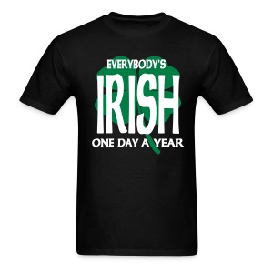 WUBT 'Everybody's Irish One Day Yr With 4-Leaf Clover' Men's Standard Tee, Black - Men's T-Shirt