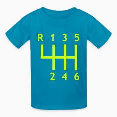 Turquoise Car – Gearshift Kids' Shirts